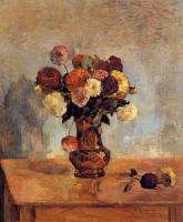 Paul Gauguin : Dahlias in a Copper Vase