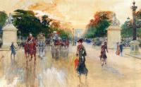 Georges Stein : Busy Traffic On The Champs Elysees Paris
