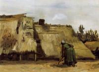 Vincent Van Gogh : Cottage with Woman Digging