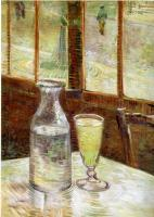 Vincent Van Gogh : A Table in front of a Window with a Glass of Absinthe and a Carafe