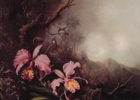 Martin Johnson Heade : Two Orchids in a mountain Landscape