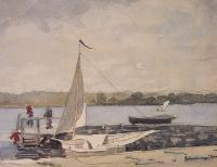 Winslow Homer : A Sloop at a Wharf Gloucester