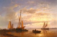 Hulk, Abraham : Dutch Fishing Vessels In A Calm At Sunset