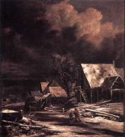 Jacob Van Ruisdael : Village At Winter At Moonlight