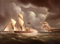 James E Buttersworth : A British Frigate Attacking A Pirate Lugger At Night