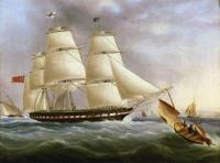 James E Buttersworth : A Three-Masted Ship off Dover