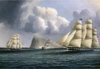 James E Buttersworth : American Frigate off Gibralter Flying a Commodore's Pennant
