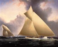 James E Buttersworth : Mayflower Leading Galatea, America's Cup