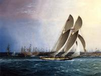 James E Buttersworth : New York Yacht Club Comet off the Battery