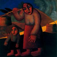 Kazimir Malevich : Peasant Woman with Buckets and Child