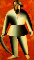 Kazimir Malevich : Reaper on Red Background