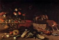 Jan Van Kessel : Interior of a Kitchen with a Dog