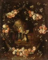 Jan Van Kessel : Madonna with the Child and St Ildephonsus Framed with a Garland of Flowers