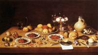 Jan Van Kessel : Still-Life on a Table with Fruit and Flowers