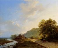 Barend Cornelis Koekkoek : A Summer Landscape With Travellers On A Path