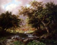 Barend Cornelis Koekkoek : A Wooded Landscape With Figures Along A Stream