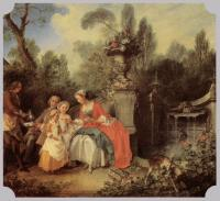 Nicolas Lancret : Lady and Gentleman with two Girls and a Servant