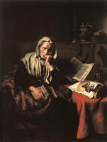 Nicolaes Maes : Old Woman Dozing