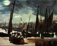 Edouard Manet : Moonlight on Boulogne Harbour