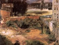 Adolph Von Menzel : Rear of House and Backyard
