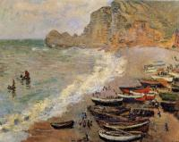 Claude Oscar Monet : Beach at Etretat