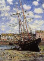 Claude Oscar Monet : Boat at Low Tide at Fecamp