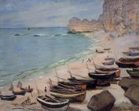 Claude Oscar Monet : Boats on the Beach, Etretat