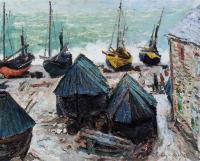 Claude Oscar Monet : Boats on the Beach, Etretat II
