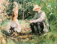 Berthe Morisot : Eugene Manet and his Daughter Julie in the Garden (The Husband and Daughter of the Artist)