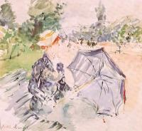 Berthe Morisot : Lady with a Parasol Sitting in a Park