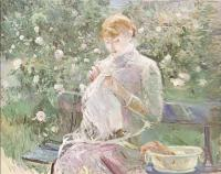 Berthe Morisot : Young Woman Sewing in a Garden