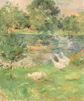 Berthe Morisot : Girl in a Boat, with Geese