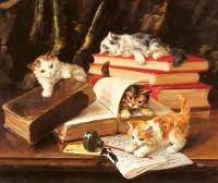 Alfred Arthur Brunel De Neuville : Kittens Playing on a Desk
