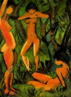 Otto Mueller : Three women in the forest
