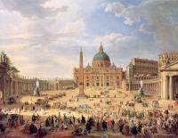 Giovanni Paolo Panini : Departure of Duc de Choiseul from the Piazza di St. Pietro