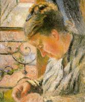 Camille Pissarro : Portrait of Madame Pissarro Sewing near a Window