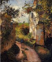 Camille Pissarro : A Peasant in the Lane at l'Hermitage, Pontoise