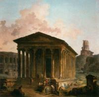 Hubert Robert : The Maison Caree, the Arenas and the Magne Tower in Nimes