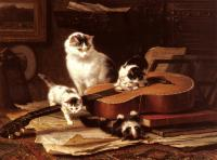 Henriette Ronner : Playing with the Guitar