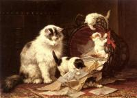 Henriette Ronner : The Waste Paper Basket