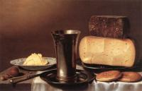 Floris Gerritsz Van Schooten : Still-life with Glass, Cheese, Butter and Cake