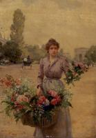 Louis Marie De Schryver : A Flower Seller Near The Arc De Triomphe