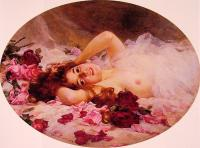 Louis Marie De Schryver : Beauty amid Rose Petals