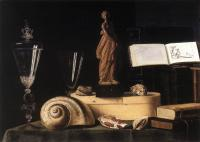 Sebastien Stoskopff : Still Life With Statuette And Shells