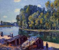 Alfred Sisley : Cabins along the Loing Canal, Sunlight Effect