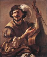 Hendrick Terbrugghen : A Laughing Bravo with a Bass Viol and a Glass