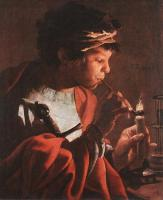 Hendrick Terbrugghen : Boy Lighting a Pipe