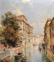 Franz Richard Unterberger : A View in Venice Rio S Marina