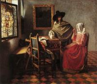 Jan Vermeer : A Lady Drinking and a Gentleman