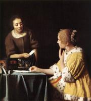 Jan Vermeer : Lady with Her Maidservant Holding a Letter